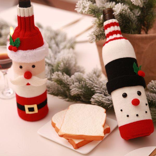 New Year Xmas Dinner Party Christmas Wine Bottle Decor Set Santa Claus Snowman Bottle Cover Clothes Table Decoration