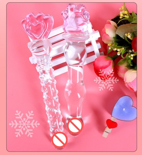 Sex toys Erotic adult products, Glass enamel crystal massage stick transparent penis masturbation cute anal tail tail bala beads adult toys