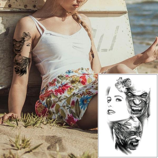 Fake Black Cool Temporary Body Transfer Tattoo Devil Beauty Girl Butterfly Crown Princess Design for Woman Man Art Waterproof Tattoo Sticker