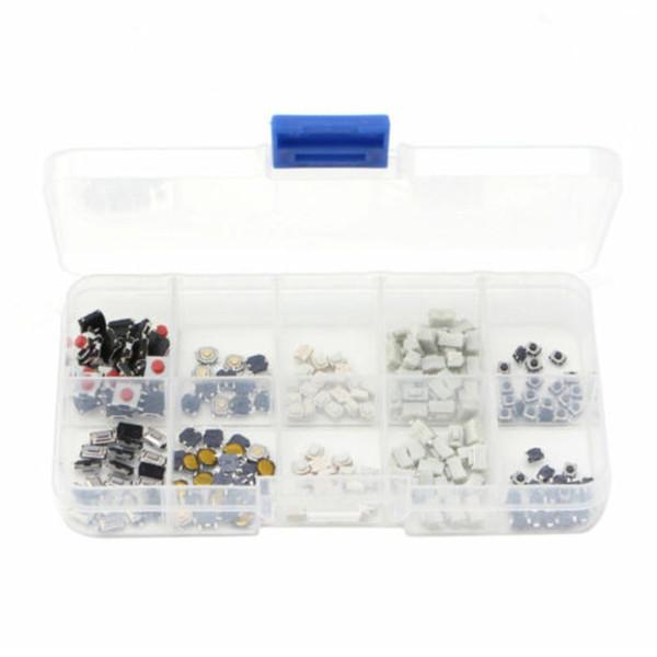 250 Stücke Tactile Push Button Switch Mikroschalter 10 Modelle für Auto Fernbedienung Knopfschalter Kit Set Key