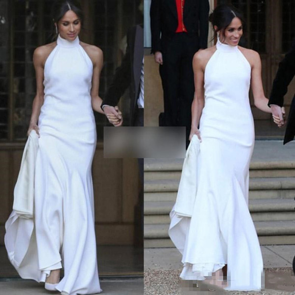 Compre Elegante Vestido De Novia De Sirena Blanca 2019 Prince Harry Meghan Markle Vestidos De Fiesta De Boda Halter Suave Satinado Vestido De Boda
