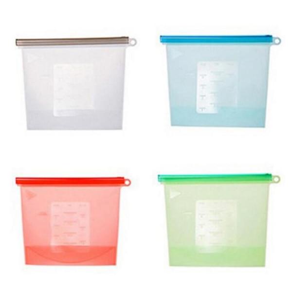 Sacs frais de nourriture de vide de silicone 1000ml enveloppe le récipient de stockage de nourriture de réfrigérateur pour le chauffage, la congélation, la micro-ondes DHL