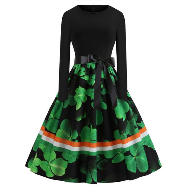 Spring St. Patrick Vintage Casual Dresses Long Sleeve Retro Midi Party Dress Shamrocks Ireland Festival Fashion Clothing