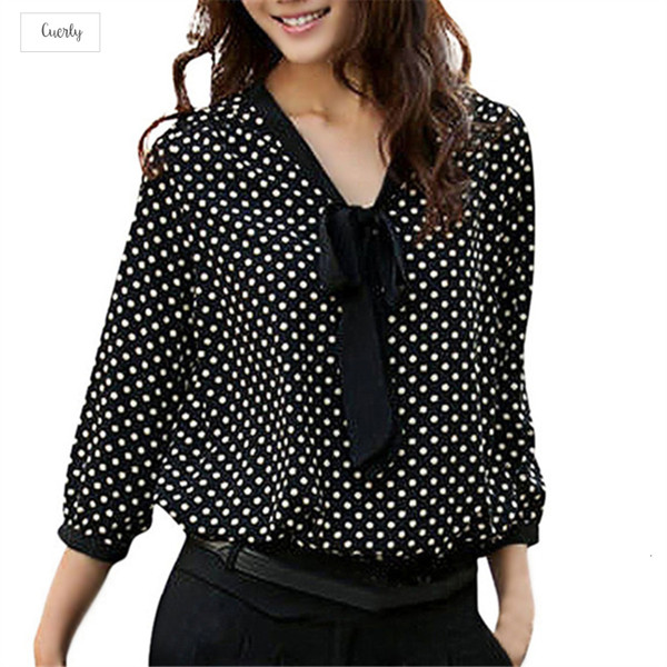 Dot Polka Women Chiffon Blouse Plus Size Shirt Women Tops Femininas Bowknot V Neck Casual Camisas Mujer F 40Ja26