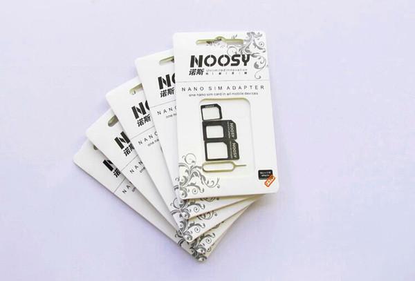 Yüksek Kalite 4 1 Noosy Nano Sim Kartı Adaptörü Seti Micro Sim Stander Sim Kart Araçları Kart Pim Iphone 4 / 5s / 6 / 6s için artı Perakende Kutusu ile