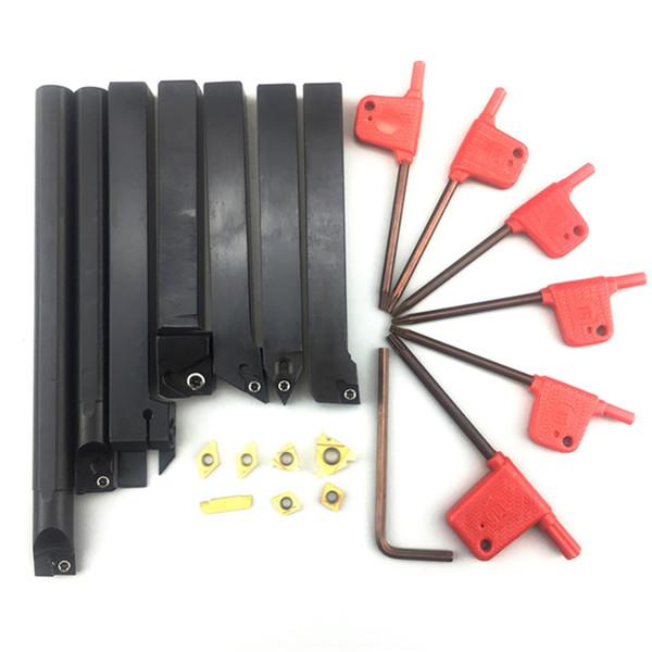 7шт лезвия с твердосплавными вставками + набор токарных резцов для инструмента + ключ для токарного станка