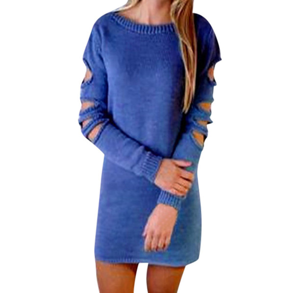 sexy O-Neck Hollow Hole Open Back sweater women solid color long Sweater Knit Blouse Casual slim women winter