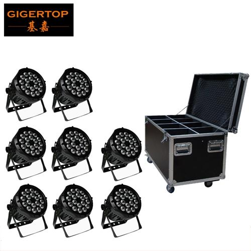 TIPTOP Flight Case Stackable 8in1 Packing 18 X12W RGBW LED PAR Light IP65 DMX Waterproof PAR 64 Stage Lighting DMX Power in/out