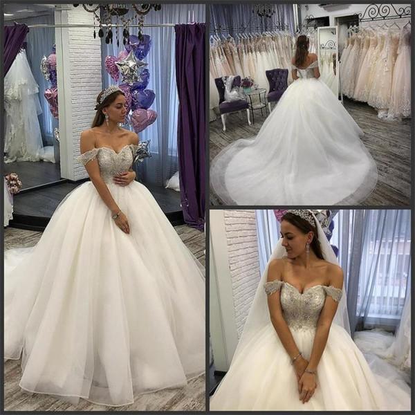 Sparkly di lusso fuori dalla spalla arabi abiti di sfera Abiti da sposa Paillettes Perline Chiesa della principessa Bridal Gown Custom Made