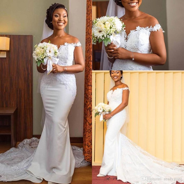 Fascinating Off Shoulder Mermaid Wedding Dresses 2019 White Ivory Sexy Lace Long Sweep Train Africa Vestido de noiva Plus Size
