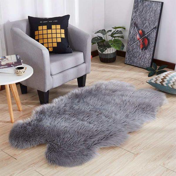 Мех искусственный овчины волосатый ковер для гостиной коврики для спальни кожа меха равнины пушистые коврики моющиеся спальня искусственный коврик