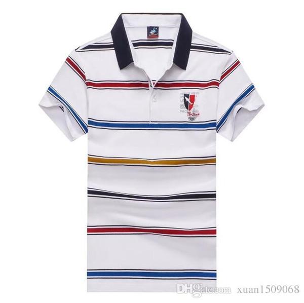 Camiseta de manga corta para hombre, algodón mercerizado, algodón puro, polo de manga corta transpirable para hombres, estilo nuevo en verano de 2019