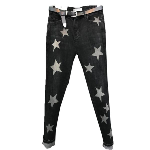 2019 Imprimir Moda de cinco pontas da estrela Pants Mulheres Denim elásticas Vintage reta jeans casual