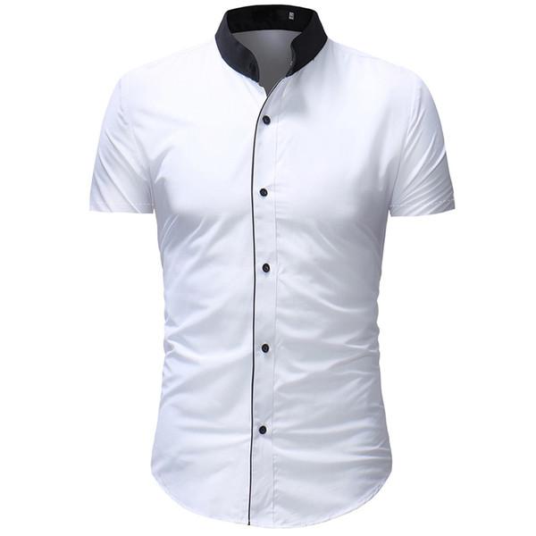 Shirt Dress Summer Shirt Men Plus Size Casual Button Down Short Sleeve Top Blouse White Modis Clothing Camisa Masculina