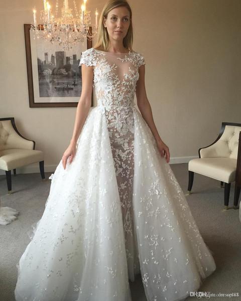 2019 Zuhair Murad Overskirt Wedding Dresses Short Sleeves Sheer Jewel Neck Appliqued Tulle Chapel A-Line Sweep Train Beaded Bridal Gowns