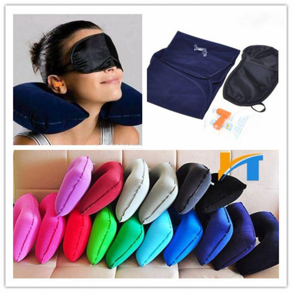 best selling 3 in 1 Outdoor Camping Car Airplane Travel Kit Inflatable Neck Pillow Cushion Support+Eye Shade Mask Blinder+Ear Plugs