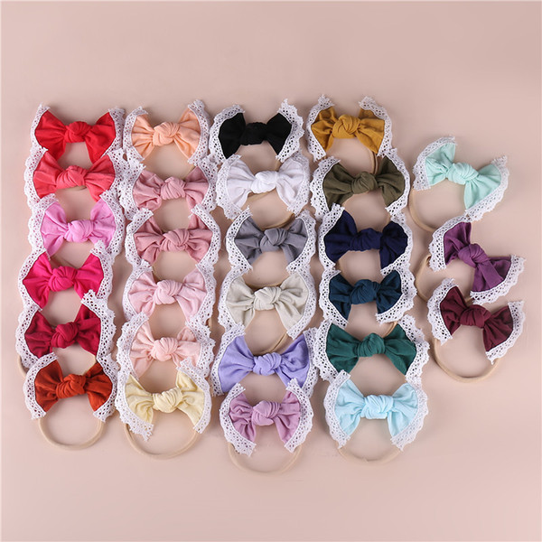 Baby Bows elastic headbands infant girls lace hollow embroidery Bows princess hairbands children's day party hair accessories F6360