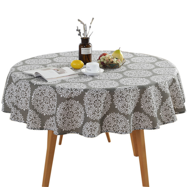 150cm Party Vintage Patio Washable Round Decoration Home Use Nordic Garden Printing Wear- Resisting Cotton And Linen Table Cloth