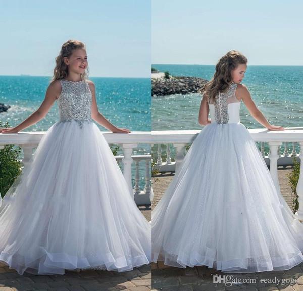 Robe de bal robe de demoiselle pour les mariages bijou creux dos balayage train appliques perles fille robe de concours première robe de communion