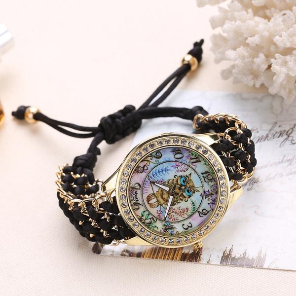 Cartoon Owl Bracelet Dial Wrist Watch Rope Watch Quartz Round