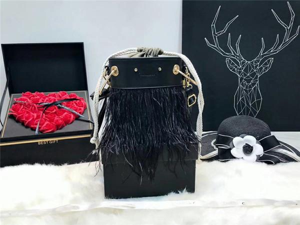 Bolsas de grife de luxo avestruz pena avançada personalização balde saco famosa marca sacos de ombro mensageiro crossbody saco de cadeia de diamantes