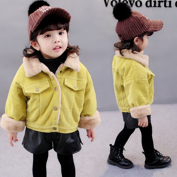 Children Clothes 2019 Cute Girl Clothing Jackets Coats Fashion New Casual Solid Cute Girl Outerwear Long Sleeve O-neck Kid Jk212