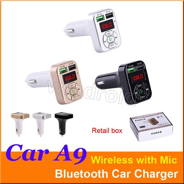 CAR A9 Multifunction Bluetooth Transmitter 3.1A Dual USB Car charger FM MP3 Player Car Kit Support TF Card Handsfree + retail box Cheapest