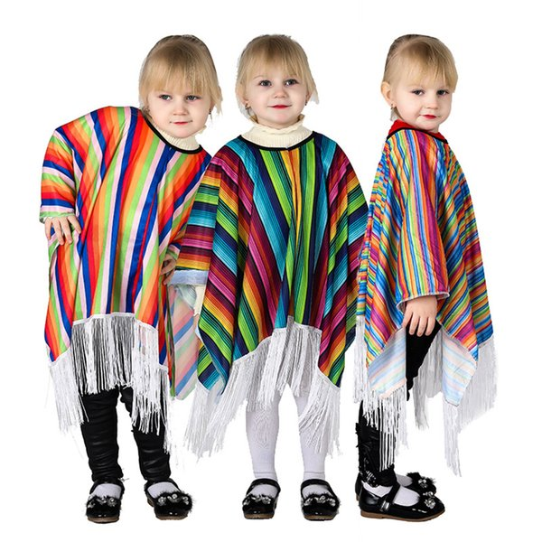 Enfants Mexique Cape enfants Stripe Mexique Costume Tassel arc-en-Cap-style national Halloween Party cosplay Poncho