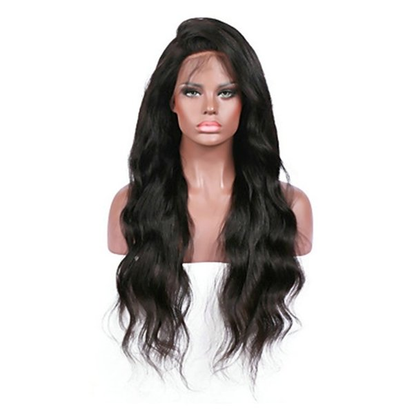 Top Quality Fashion Women Black Body Wave Long Wigs with Natural Baby Hair Heat Resistant Glueless Synthetic Lace Front Wigs for Black Women