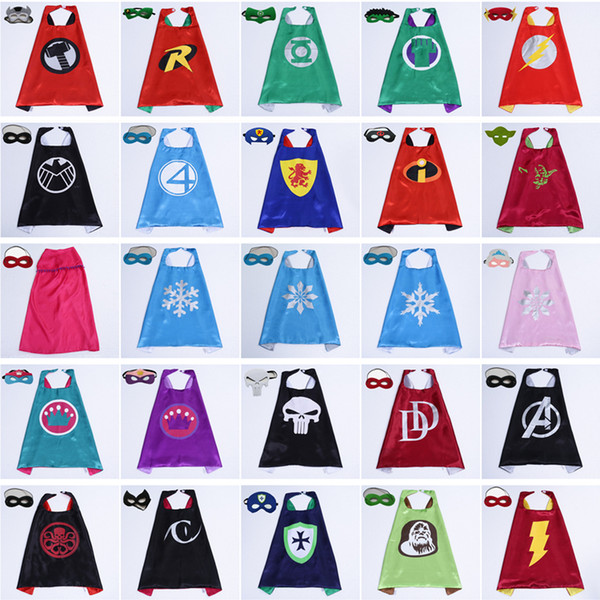 101 Styles 70*70cm Double layer Super Hero Children Cape with Mask kids baby Cosplay Cape for Christmas Halloween Party Stage Performance