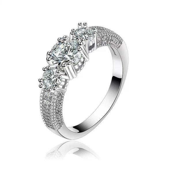 Anelli di fidanzamento con diamante per le donne Ragazze Festa di nozze in oro rosa e colore platino Grazioso regalo gioielli