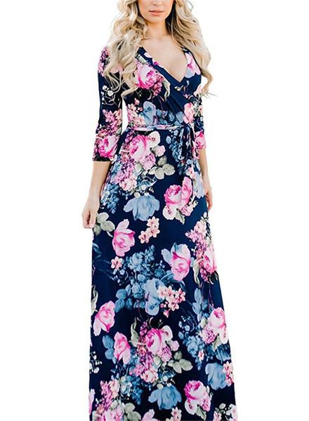 Printemps imprimé floral Robe Femme Femme col V à manches longues avec Jupettes Robes dames Casual Vacances Vêtements sexy