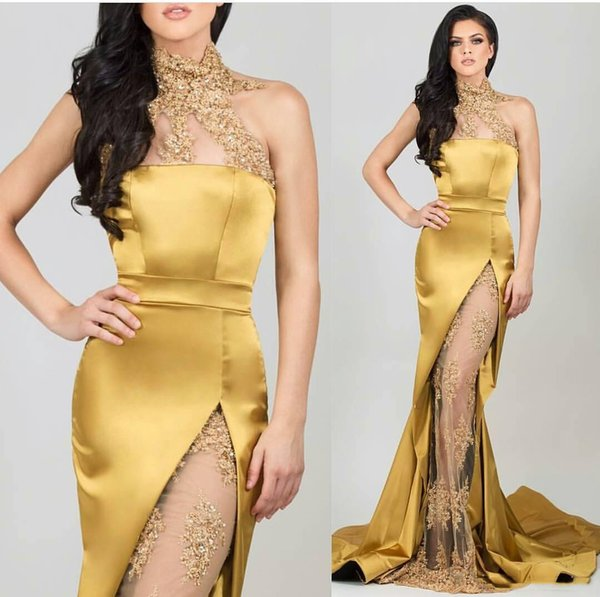 Sexy Gold Mermaid Evening Dresses Long High Neck Sequins Beaded Applique See Through Side Split Prom Party Gowns Arabic Celebrity Dress 2019