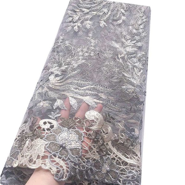 Beautiful Sliver African Net Beaded Lace Fabric French Indian Lace Fabric Wine Velvet African Fabric Lace Material For Women