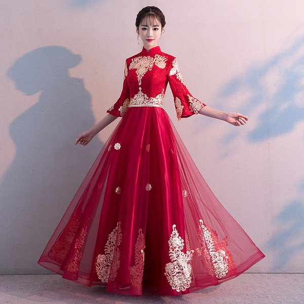 Brinde roupas de noiva verão longa seção estilo chinês cintura alta mulheres grávidas moda de casamento vermelho vestido de noite qipao