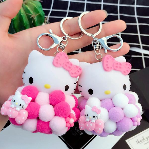 36c21727f Cartoon cute plush ball Hello Kitty keychain KT cat bow key chain bag  wallet car jewelry
