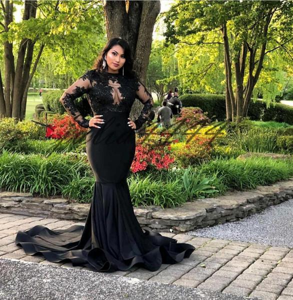 2019 Black Mermaid African Prom Dresses Long Sleeves Lace Halter Black Girls Graduation Party Dress Evening Vestidos de novia