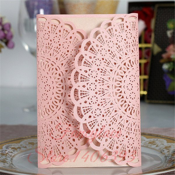 50pcs Romantic Laser Cut Wedding Invitation Card Lace Flower Carved Pattern Wedding Card Hollow Out Wedding Banquet Party Supply
