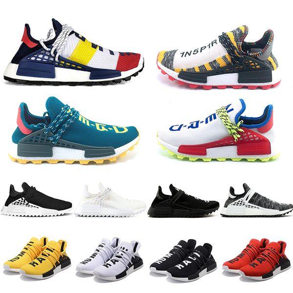 Cheap NMD Human Race Running Shoes Men Women Pharrell Williams HU Runner Yellow Black White Red Green Grey Blue Sport Sneaker Size 36-47
