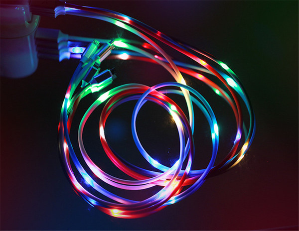 Lighting Music Led Rapid Charging 2A Cable 1m 3ft USB Data sync Voice Control Light Up Cord for Samsung Galaxy S8 S9 Plus for Huawei