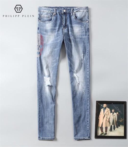Styliste de jeans pour hommes Slim moto Moto Biker jeans pour hommes occasionnels Hip Hop pour hommes jeansp T17