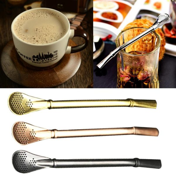 304 Stainless Steel Drinking Straw Spoon 4pic Tea Filter Yerba Mate Tea Straws Bombilla Gourd Reusable Tea Tools Bar Accessories
