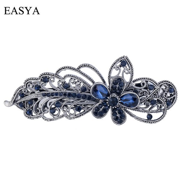 EASYA Blue Peacock Hairpins Rhinestone Crystal Flower Leaf Hair Clip Barrettes Vintage Hair Accessories Jewelry For Women Girls