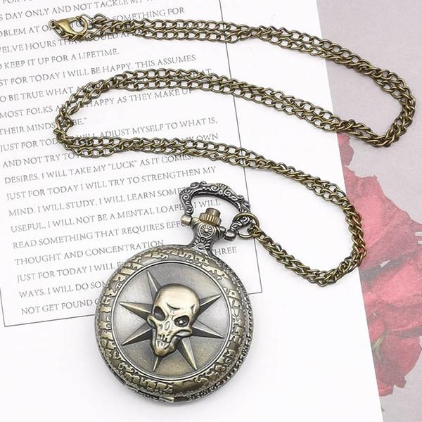 Retro Bronz Steampunk Hollow Karayip Korsan Korku Kuvars Pocket Watch Erkekler Kadınlar için Tek Parça Kolye Zinciri ile