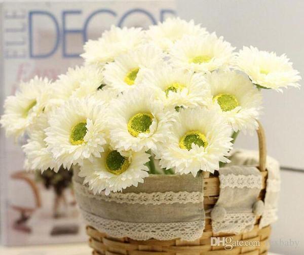 "Silk Single Stem Gerbera 20cm/7.87"" Length Artificial Flowers Mini Daisy Chrysanthemum for DIY Bridal Bouquet Wedding Centerpieces"