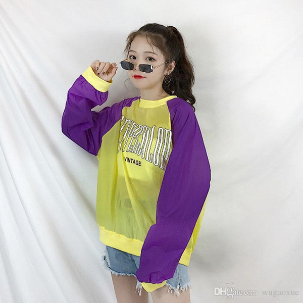 Roupas femininas nova perspectiva fina pullovers verão Protetor solar carta solta streetwear Camisolas o-pescoço manga comprida Feminino