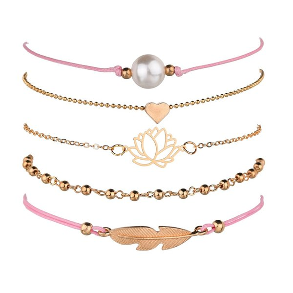d4fb32471 Bohemia Lotus Heart Feather Bracelet Sets For Women Weave Pink Rope Chain  Bracelets Pulseras Mujer Tassel