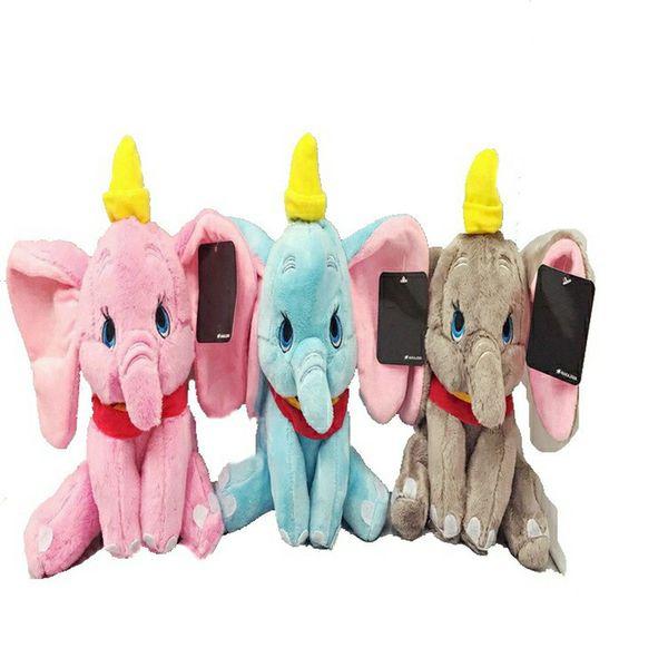 Elephant Plush Toy kawaii Soft Stuffed Animals Cartoon Kids Toys Doll for Wedding Birthday Party Christmas Decoration Three colors 23cm