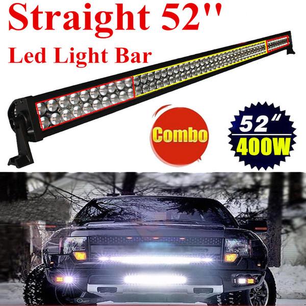 "52"" Inch 400W LED Light Bar for Work Driving Boat Car Truck Jeep 4x4 SUV ATV Off Road Fog Lamp Spot + Wide Flood Combo Beam 10-30V"
