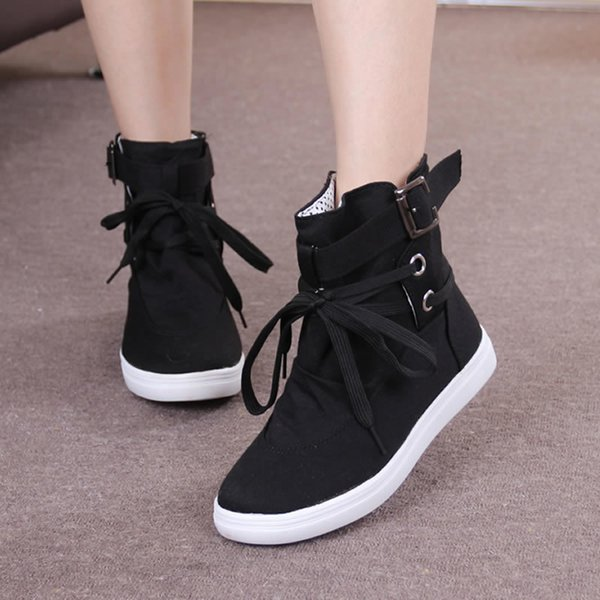 Black Gray Round Toe Platform High-top Canvas Buckle Shoes Woman Lace Up boots Student Flat Ankle Boots Botas Mujer iol90